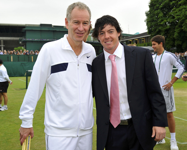 McIlroy also chatted with three-time Wimbledon champion John McEnroe.