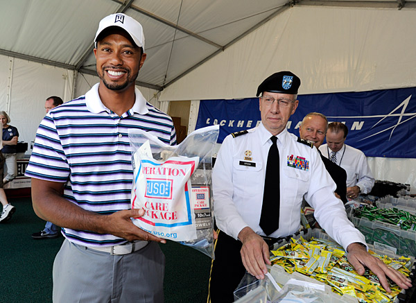 Tiger Woods works with charities and programs to support the troops in honor of Woods's late father, Earl Woods, who was a green beret. The tournament always falls near July 4.