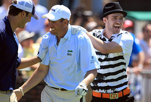Romo and Timberlake with John Atkinson, a medical salesman from Omaha who shot a 43-over 114.