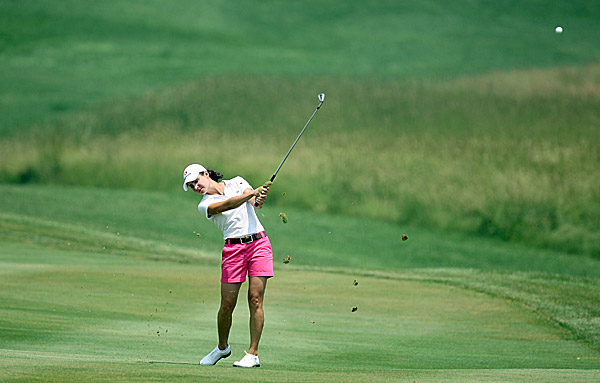 Third Round of McDonald's LPGA Championship                     Lorena Ochoa, left, is 10 under and tied for third place with Annika Sorenstam. Jee Young Lee leads at 12 under, and Maria Hjorth is a shot behind her in second place.