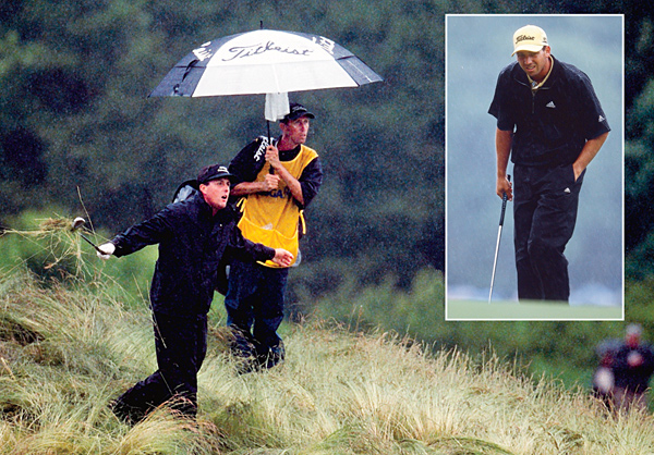 "VICTIMS                                              The field                       2002                                              SITE: Bethpage State Park (Black Course), Farmingdale, N.Y.                                              When the weather is a storyline at the U.S. Open, it's usually the heat. During the second round at Bethpage, it was the rain — a hard, driving downpour that contributed to a scoring average near 77 for the field. Sergio Garcia [inset], who fell from one shot behind leader Tiger Woods during the second round to                       seven back, slammed the USGA for not blowing the horn. ""Do we have to be swimming here to stop play?"" he carped."