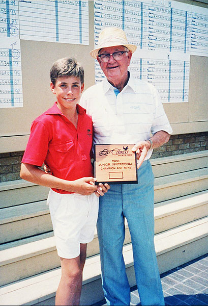 13-year-old Justin Leonard with Byron Nelson in 1986.