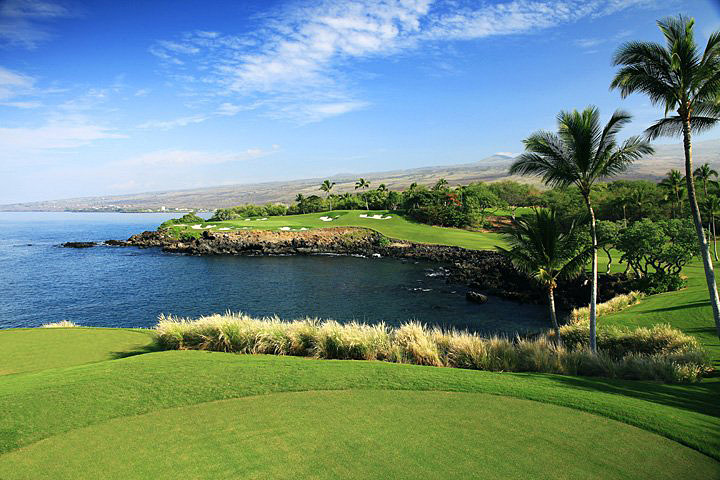 Tee shot at the 272-yard, par-3 3rd hole at Mauna Kea -- Kohala Coast, HawaiiNot since Evil Knievel took on Idaho's Snake River Canyon in 1974 has anyone been asked to clear something like this: 272 yards of pure ocean carry to a green ringed by volcanic rock. Such a pity. What a pretty place to suffer cardiac arrest.