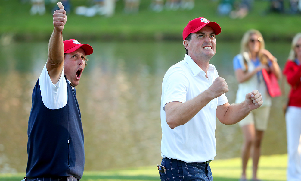 Phil Mickelson and Keegan Bradley thrilled the home crowd on Friday by winning both of their matches in dramatic fashion. The Americans head into the weekend with a 5-3 lead.