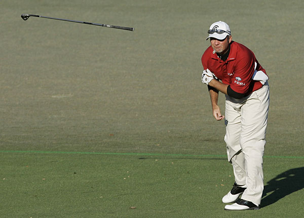 Jerry Kelly gave one of his clubs the death stare when he threw it during the third round of the 2007 Masters.