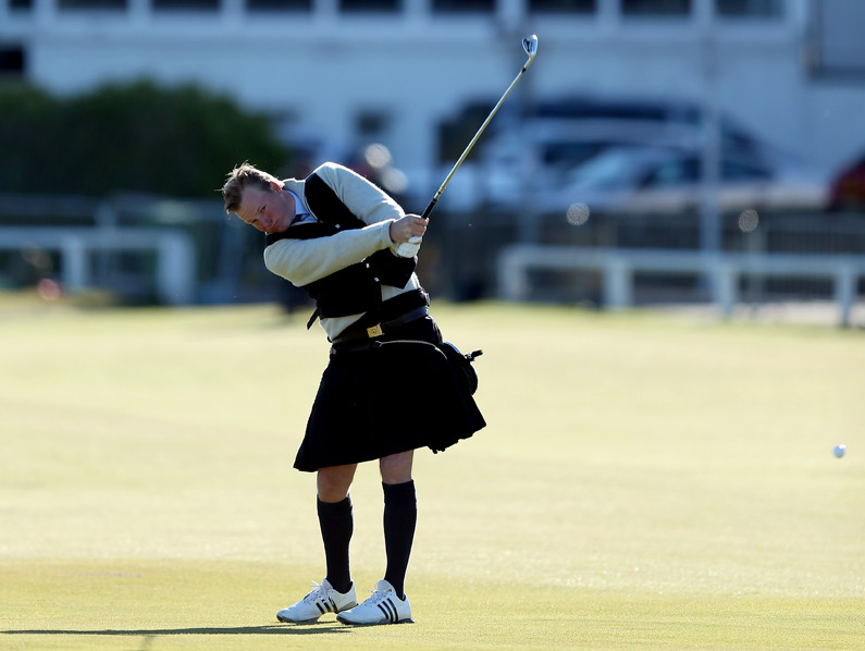 New York financier Ogden Phipps II played in a kilt during the third round of the Alfred Dunhill Links Championship at St. Andrews.