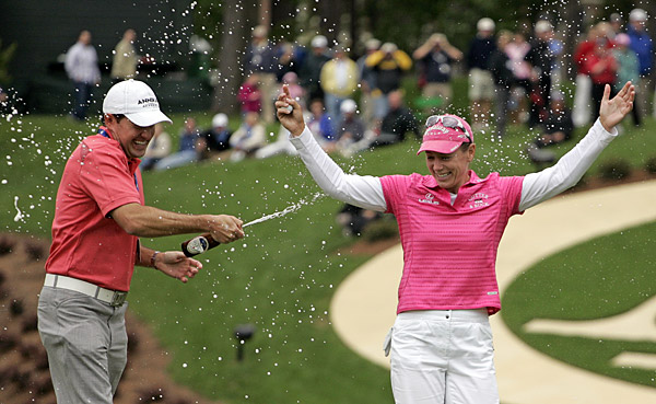 Sorenstam was sprayed with beer after winning the Michelob Ultra Open at Kingsmill Resort & Spa.