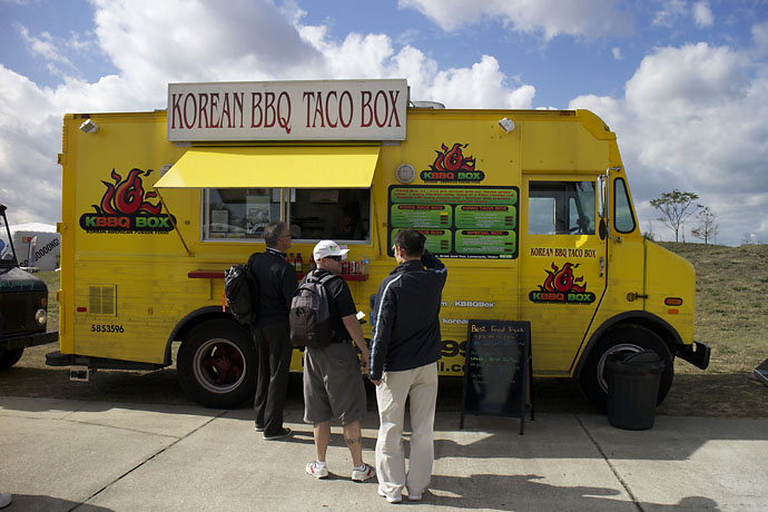 Orlando's KBBQ Box serves seriously good Korean-American fusion food from its yellow truck, and drew a line of hungry range rats at Demo Day on Tuesday.