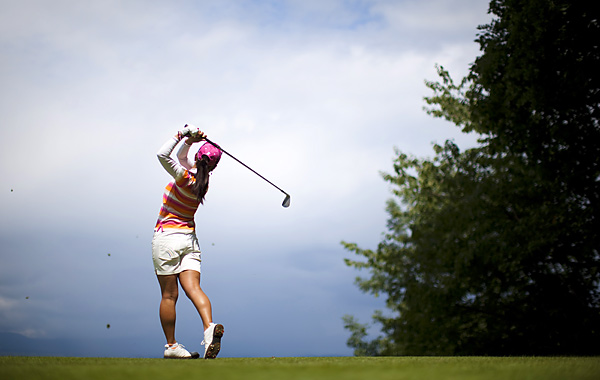 Ai Miyazato started her final round with a two-shot lead and held off American Stacy Lewis by firing a 70 to win the Evian Masters by two.