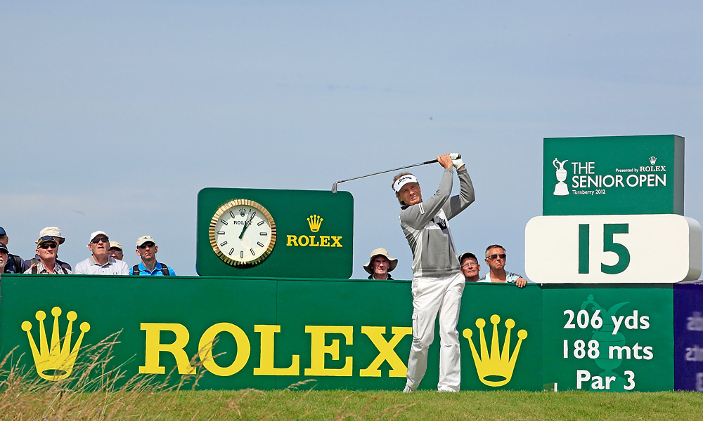 Bernhard Langer got off to a hot start, shooting a 64 to take the lead.