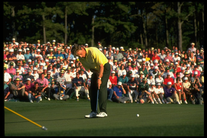 1993: Bernhard Langer, his battles with the yips well documented, wins a fight against his demons – and a second green jacket – when he triumphs at Augusta, using a forearm-brace-style putting very much like Miller's.