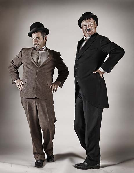 Laurel and Hardy noun following a thin shot with a fat one