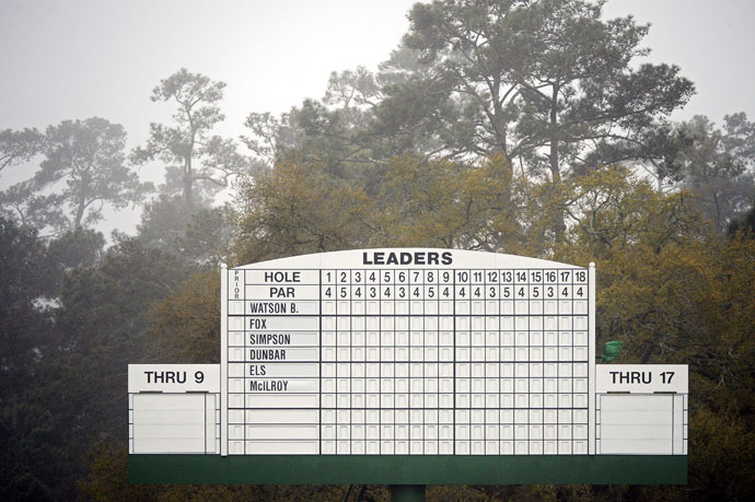 The iconic white leaderboard at Augusta sat empty Thursday morning before play began.