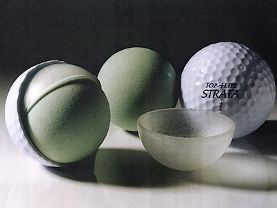 1996Multilayer ball                   Innovator: Top-Flite                                      Soon after its introduction, Top-Flite's Strata garnered a dedicated following where it counts most: on the PGA Tour. Jim Furyk and Hal Sutton were among the big names to recognize the high-tech breakthrough of golf's first multilayered ball, which flew farther than pillowy-soft balatas but was just as obedient on the greens.