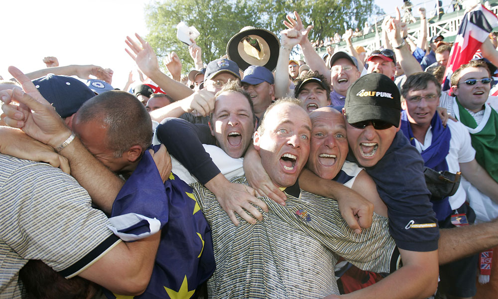 Thomas Levet joined the European fans in celebrating his team's drubbing of the U.S. at Oakland Hills in Detroit.