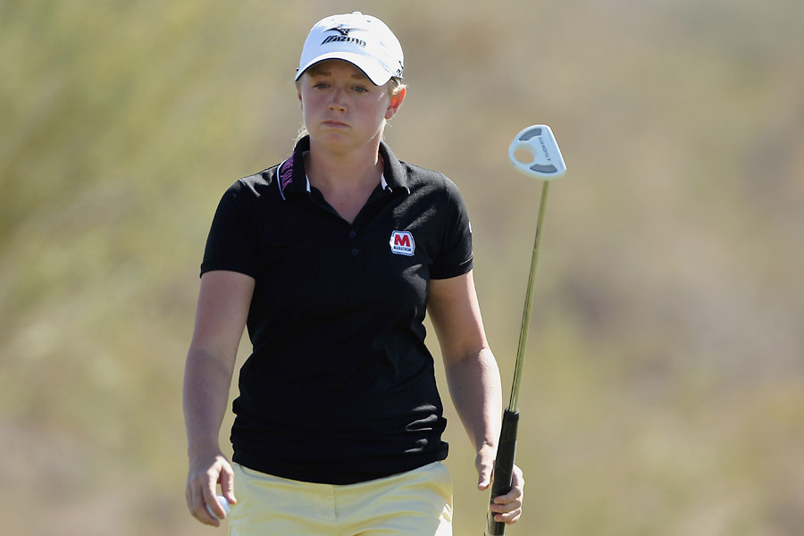 Stacy Lewis was among the large group of players at four under.