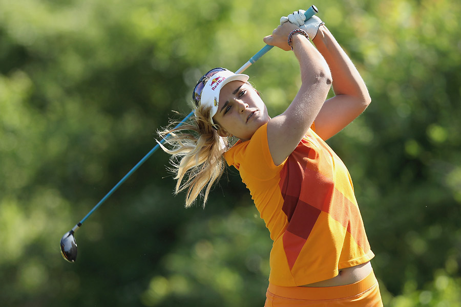 Lexi Thompson, who finished high school this year, was two over on the day.