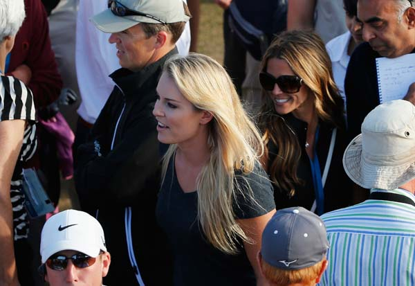 """No, thanks! I am definitely not getting married. To anyone.""                     Lindsey Vonn, who was in Muirfield for the Open with boyfriend Tiger Woods."
