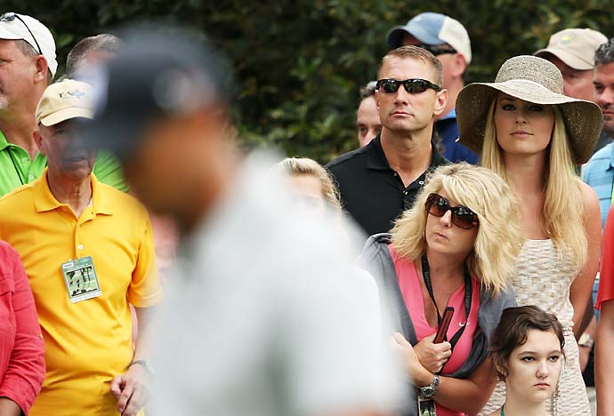 Lindsey Vonn watched boyfriend Tiger Woods on the first hole of the Masters on Thursday morning.