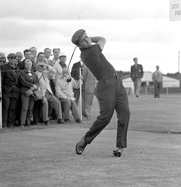 Gary Player on the tee at St. Andrews in 1964. The South African favored close-fitting, all-black clothes, which was quite a modern idea at the time.