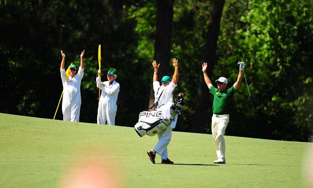 Louis Oosthuizen made a double eagle, the first-ever on the second hole and only the fourth in tournament history.