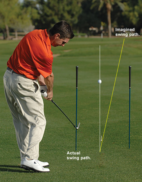 4. It should feel like you're swinging 10 yards to the right of your target. Not only is this swing correct, it guarantees that you'll approach the ball on a power-rich inside path.