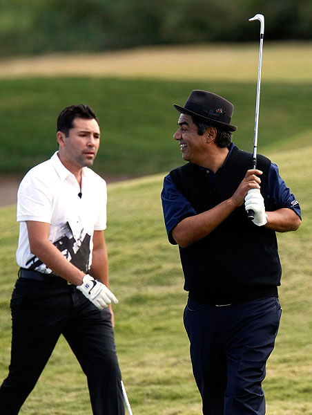 was paired with funnyman George Lopez, right, on Wednesday.