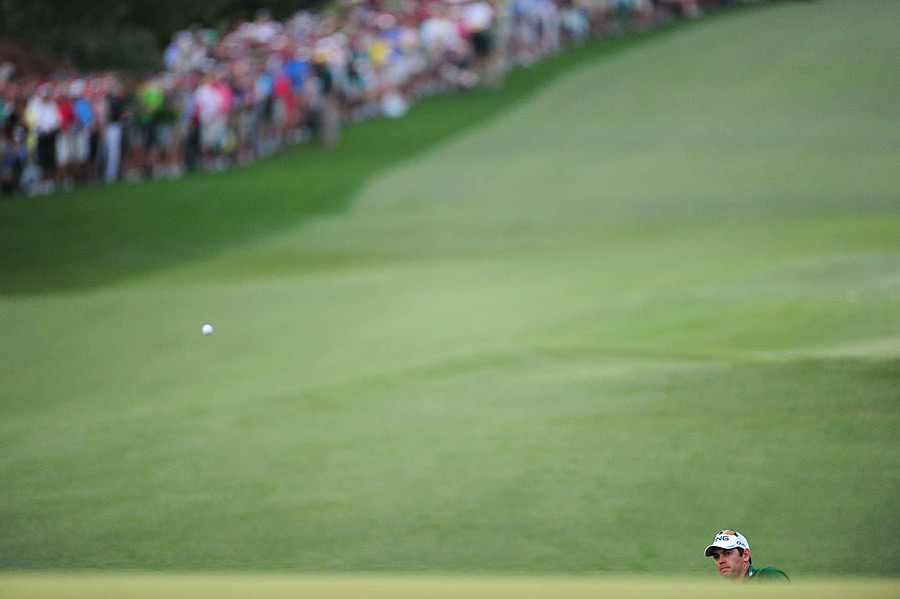 "Oosthuizen's second shot came up short of the green, and he failed to get up-and-down for par. ""I just wanted to pitch it somewhere five, six yards onto the green, and the ball just didn't go anywhere,"" said Oosthuizen on his second shot."