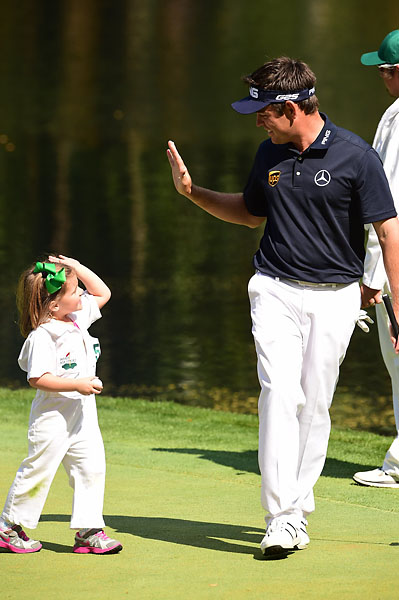 Oosthuizen family high-fives.
