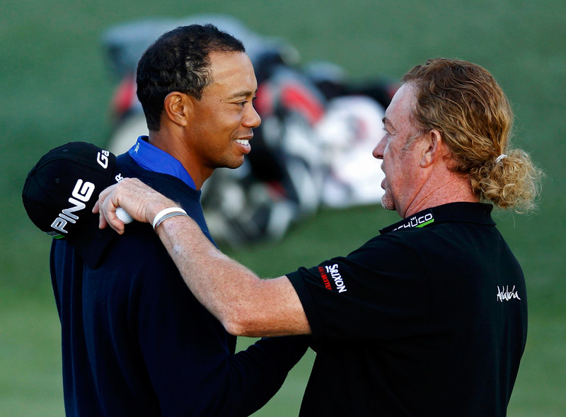 Everyone loves to be around the Most Interesting Golfer in the World, including Tiger Woods ...