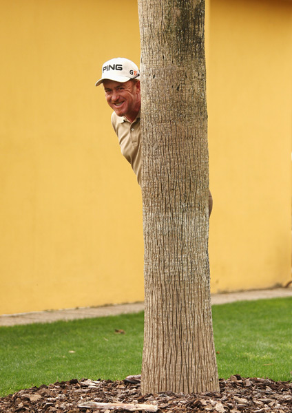 You never know where he is on the course.