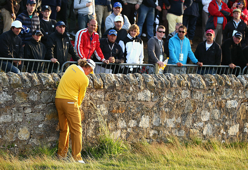 He also likes to play interesting shots on the course, like this bank shot at the Road Hole at St. Andrews during the 2010 British Open.