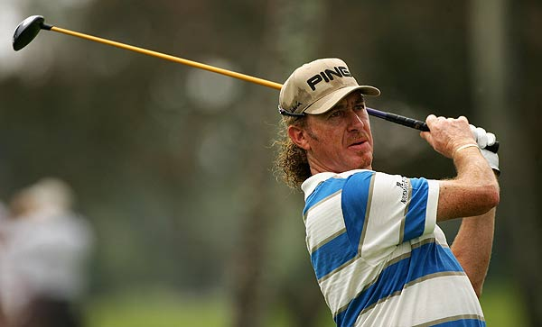 Miguel Jimenez opened his round with an eagle on the par-5 first hole. He is tied for the lead at seven under par.