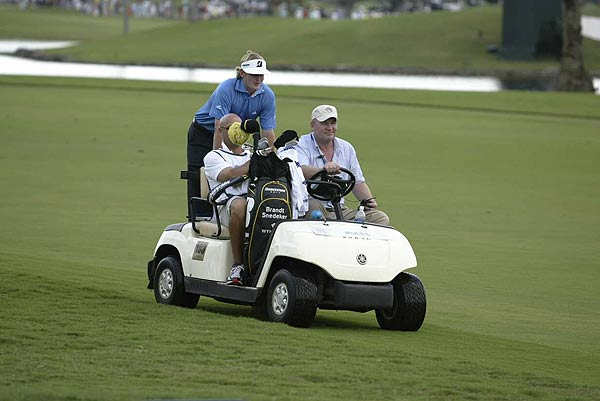 Brandt Snedeker, who finished at two under par, sought shelter from the impending storm Sunday.