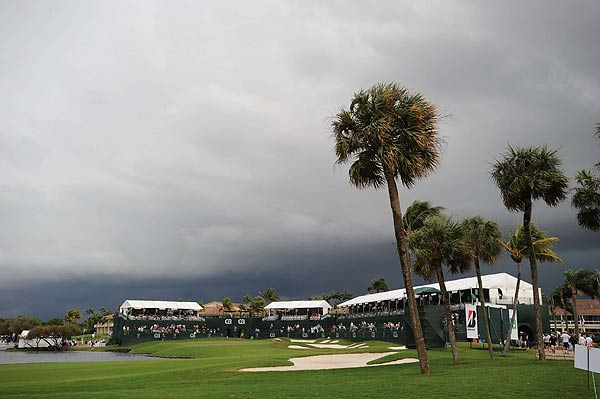 Play was suspended on Sunday just after the fourth round got underway due to inclement weather.