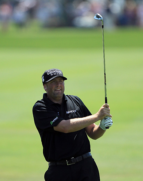 Steve Marino appeared to be on his way to victory but fell behind after a double bogey on 17.