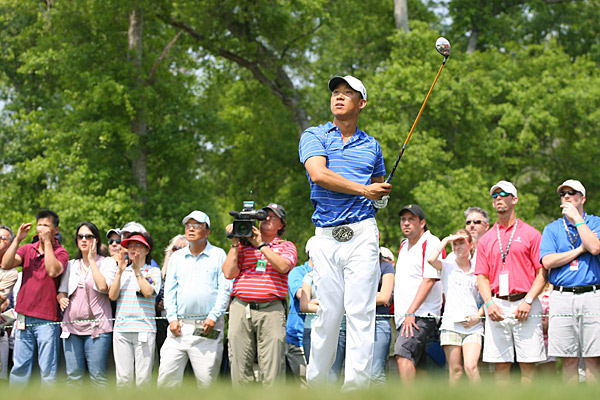 Anthony Kim got off to a rough start, making bogey on holes 9, 10 and 11.