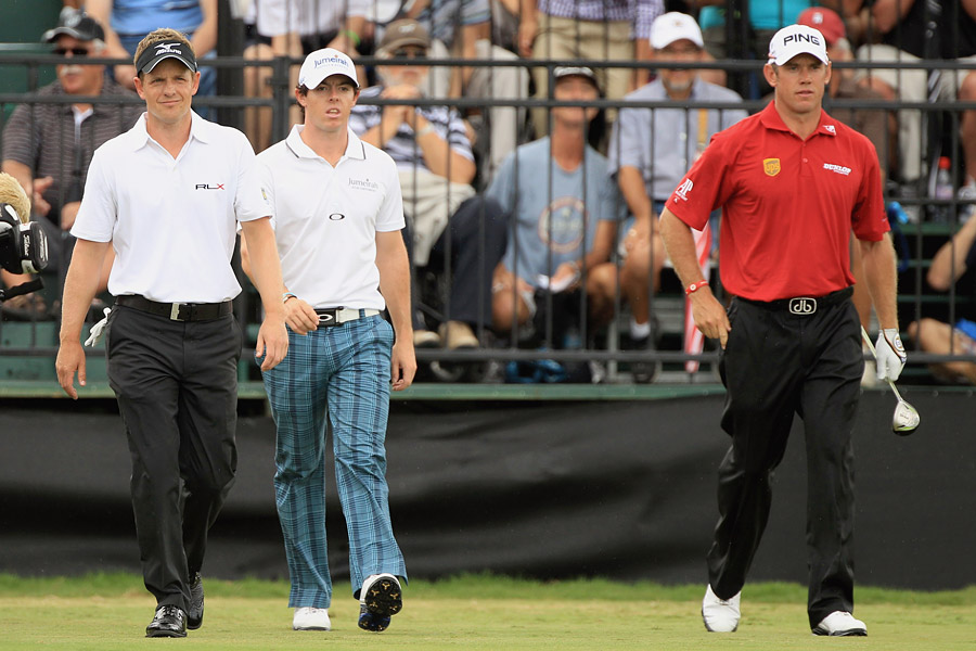 The three highest ranked golfers in the world; Rory McIlroy, Lee Westwood and Luke Donald; were paired together in round 1. McIlroy shot a 73, Donald a 70 and Westwood a 76.