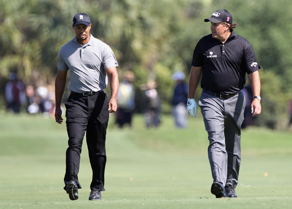 Woods and Mickelson were paired together for the second straight day.