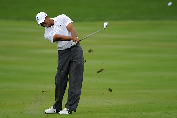 Tiger Woods hit several shots to the right, and he struggled on the greens. Woods finished at two under.