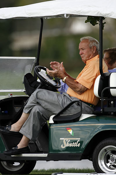 Tournament host Arnold Palmer made an appearance on Saturday.