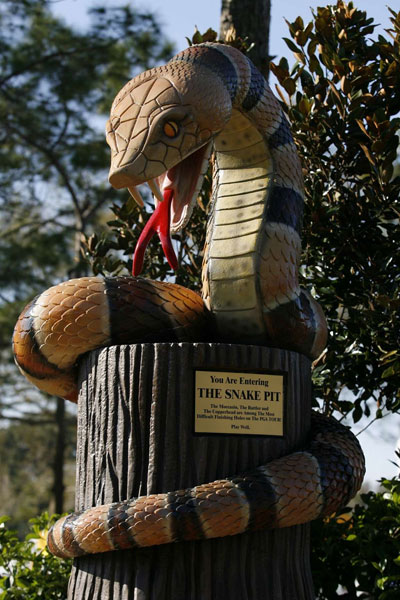"This statue greets players as they enter the ""Snake Pit"" — holes 16, 17 and 18 at Innisbrook's Copperhead course."