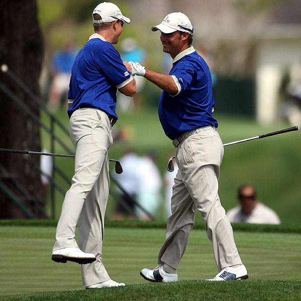 Chris DiMarco and Henrik Stenson celebrated DiMarcos' birdie on the third hole at the Tavistock Cup.  At the end of Day One, their team, Lake Nona, was ahead 10-0.