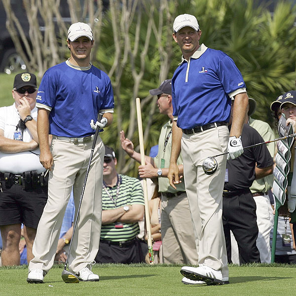 Partners Trevor Immelman, left, and Retief Goosen of Lake Nona got the win over Appleby and O'Hern.