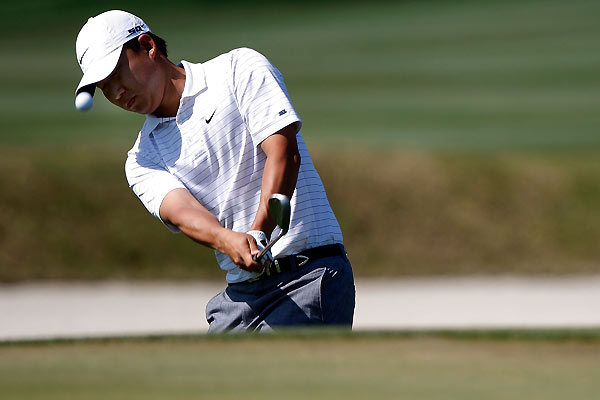 Anthony Kim made two bogeys on the back nine to finish with a 73.