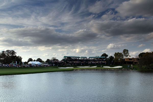 Bad weather is expected on Sunday, so tee times were moved up. The final group tees off at 10:30 a.m.