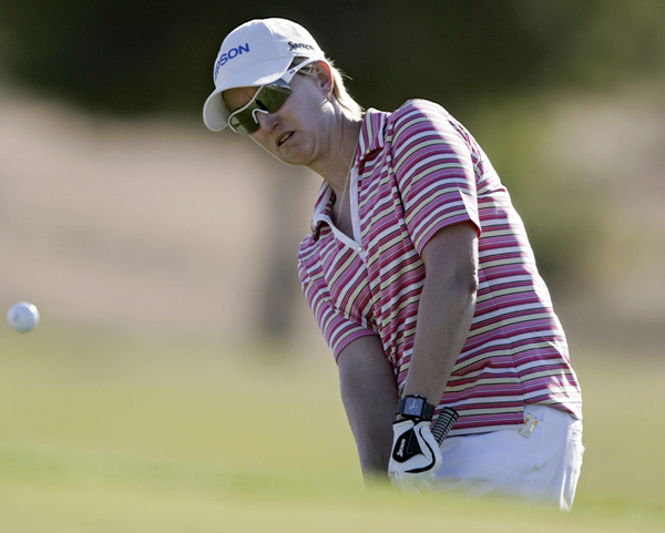 Karrie Webb is tied for second after a 3-under 69.