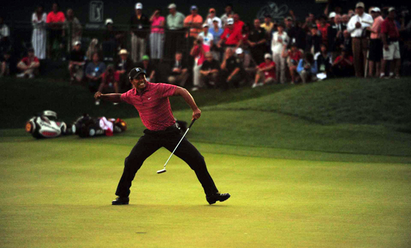 For the second straight year, Woods won with a birdie on the 18th hole.