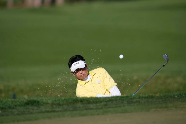 won't be defending his title this year. Yang opened with a nine-over 79.