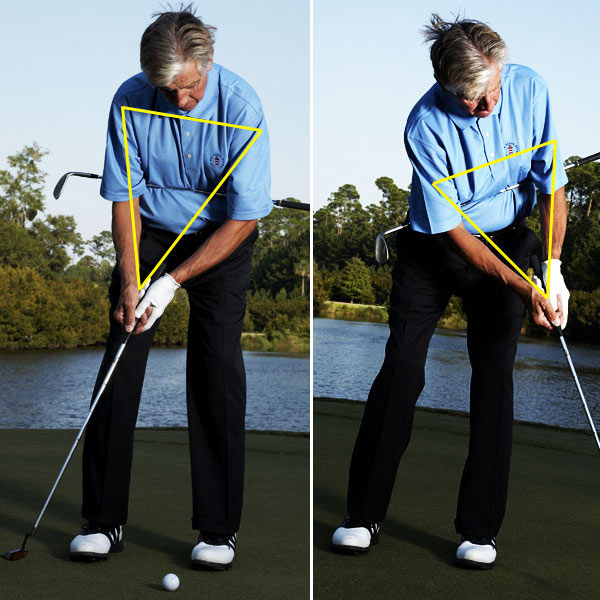 Now, stroke some putts holding the shaft firmly in place. Notice how you can't move your shoulders without moving your chest, and how the triangle created by your shoulders and arms remains intact from start to finish. This is the secret to making a smooth pendulum stroke and controlling the distance you hit your putts.